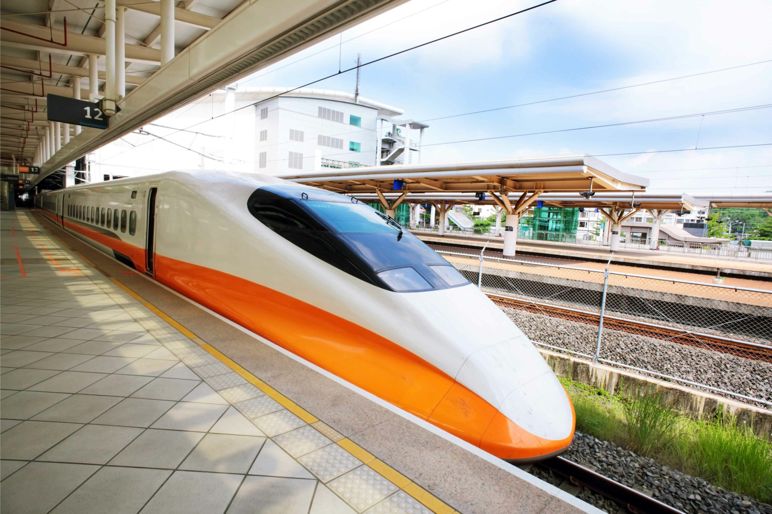 A Japanese bullet train in the station