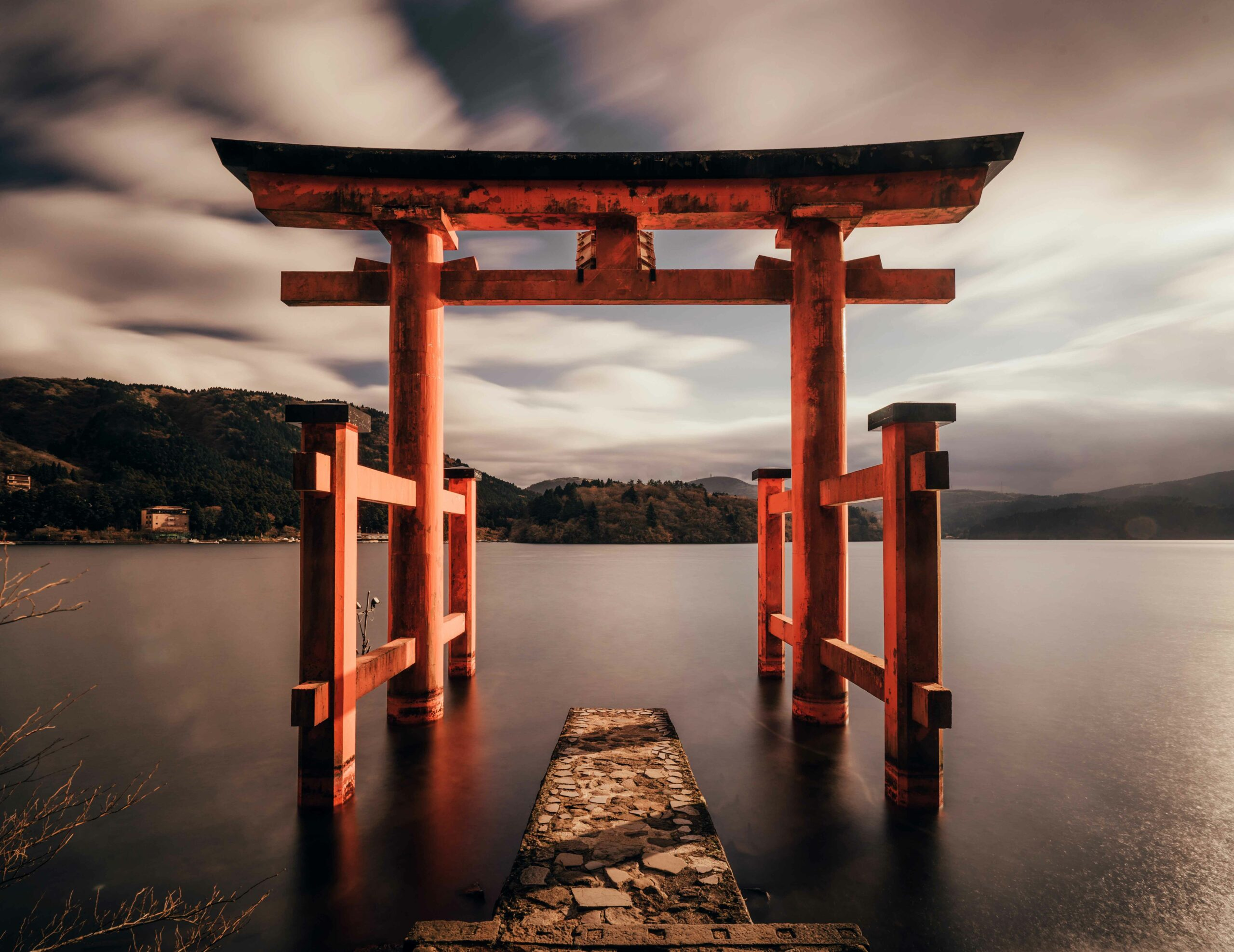 The Hakone Shrine is a Japanese Shinto shrine on the shores of Lake Ashi in the town of Hakone