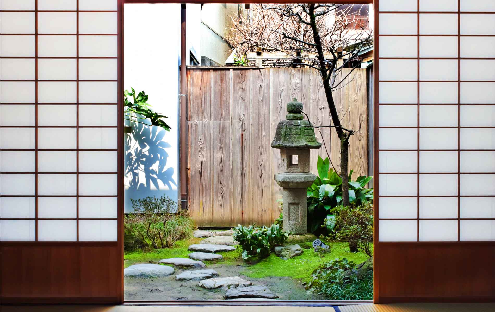 A view to the garden in a Japanese tea house in Kanazawa, Japan