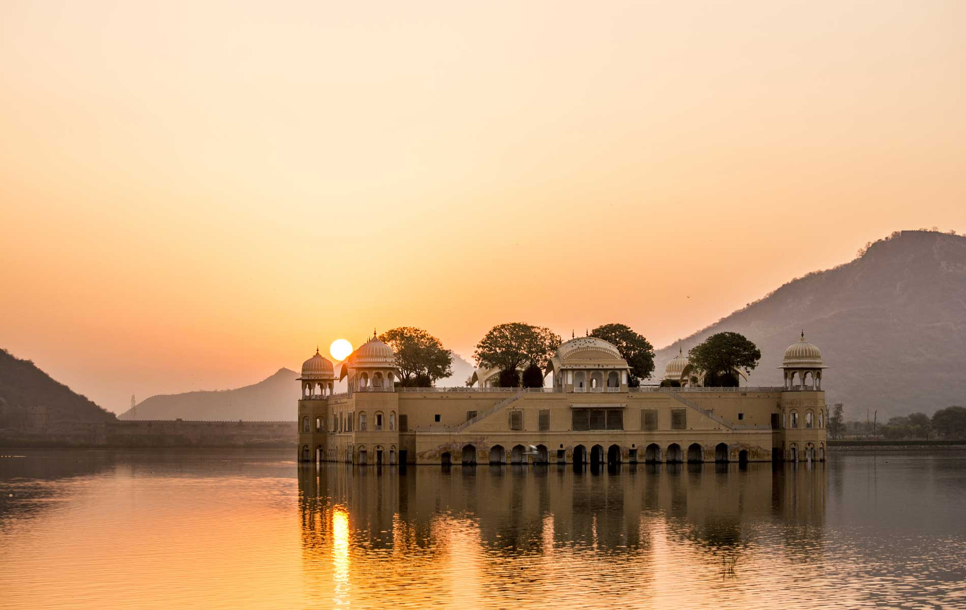 "Jal Mahal (meaning ""Water Palace"") is a palace in the middle of the Man Sagar Lake in Jaipur, India"