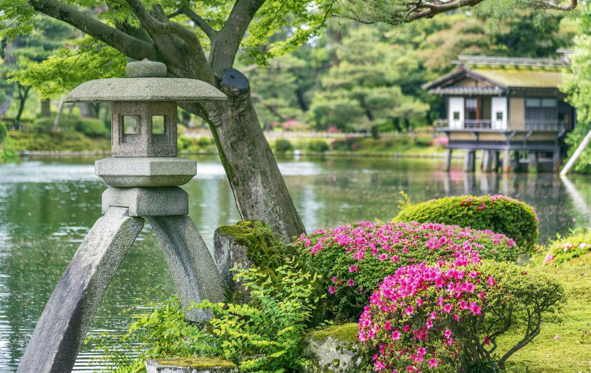 Stone Lantern in the Kenrokuen Gardens in Kanazawa, Japan