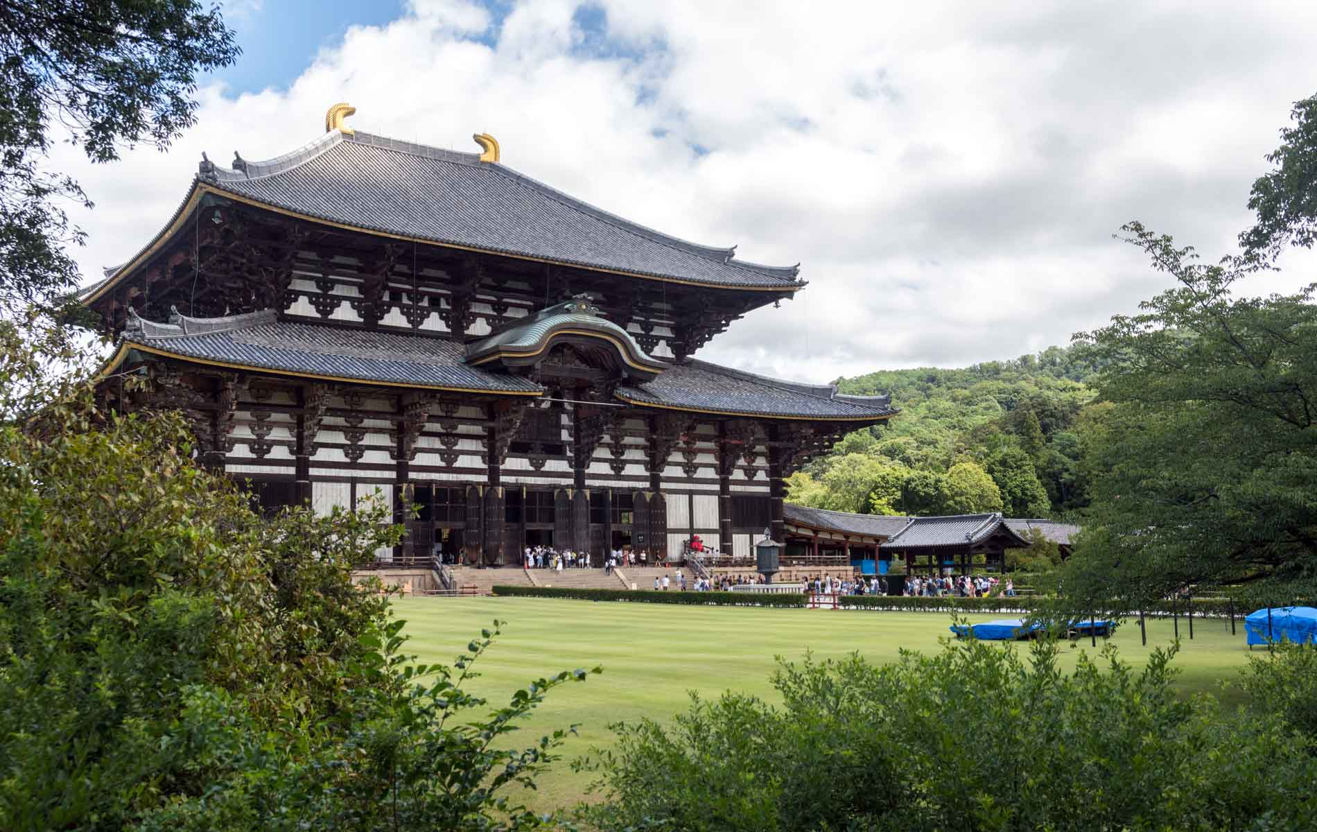 Todaiji's main hall, the Daibutsuden is the World's largest wooden building in Nara, Japan