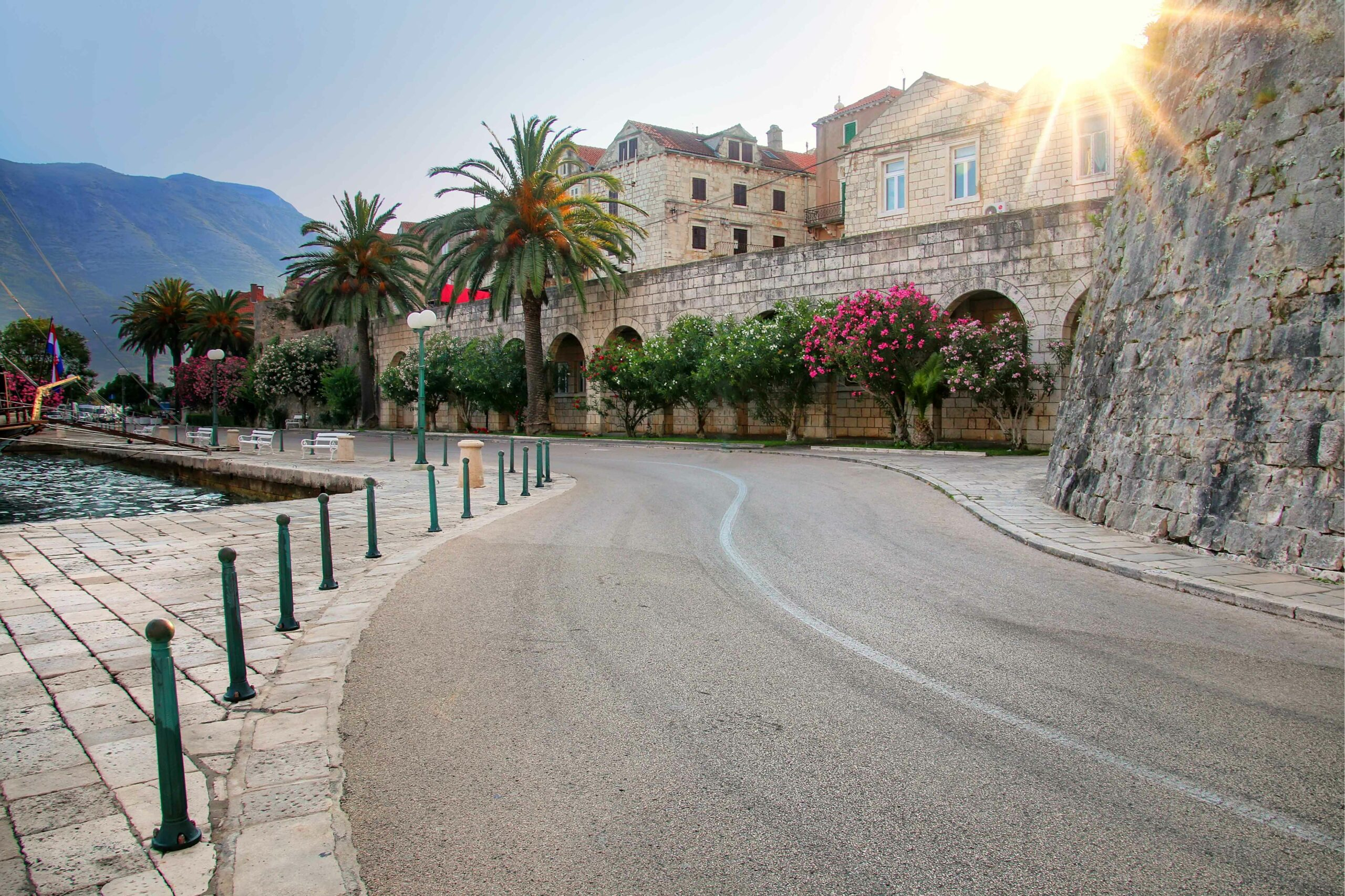 The roads outside the old town of Korcula, Croatia