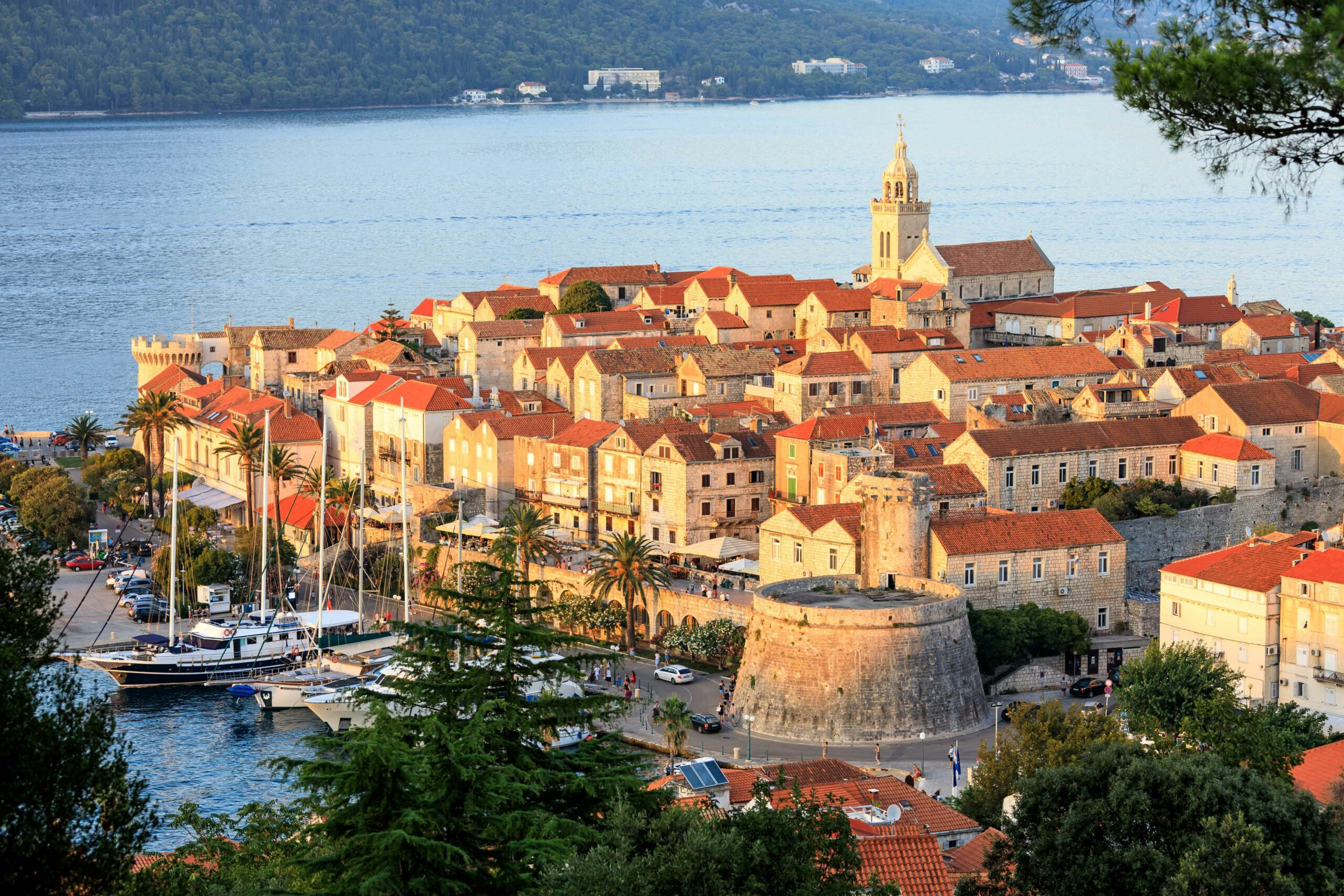 Sunset over the old town of Korcula, Croatia