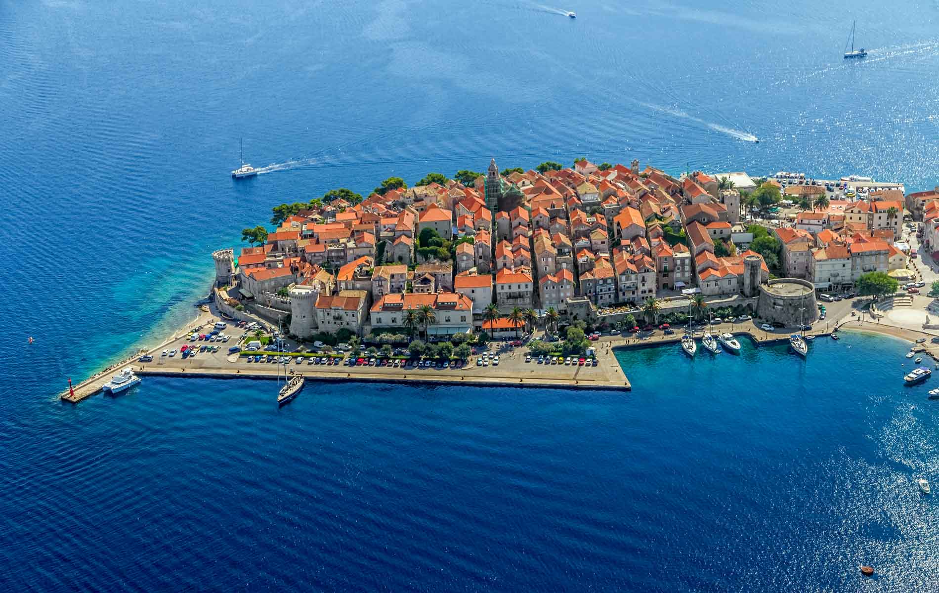 Aerial shot of Korcula's old town