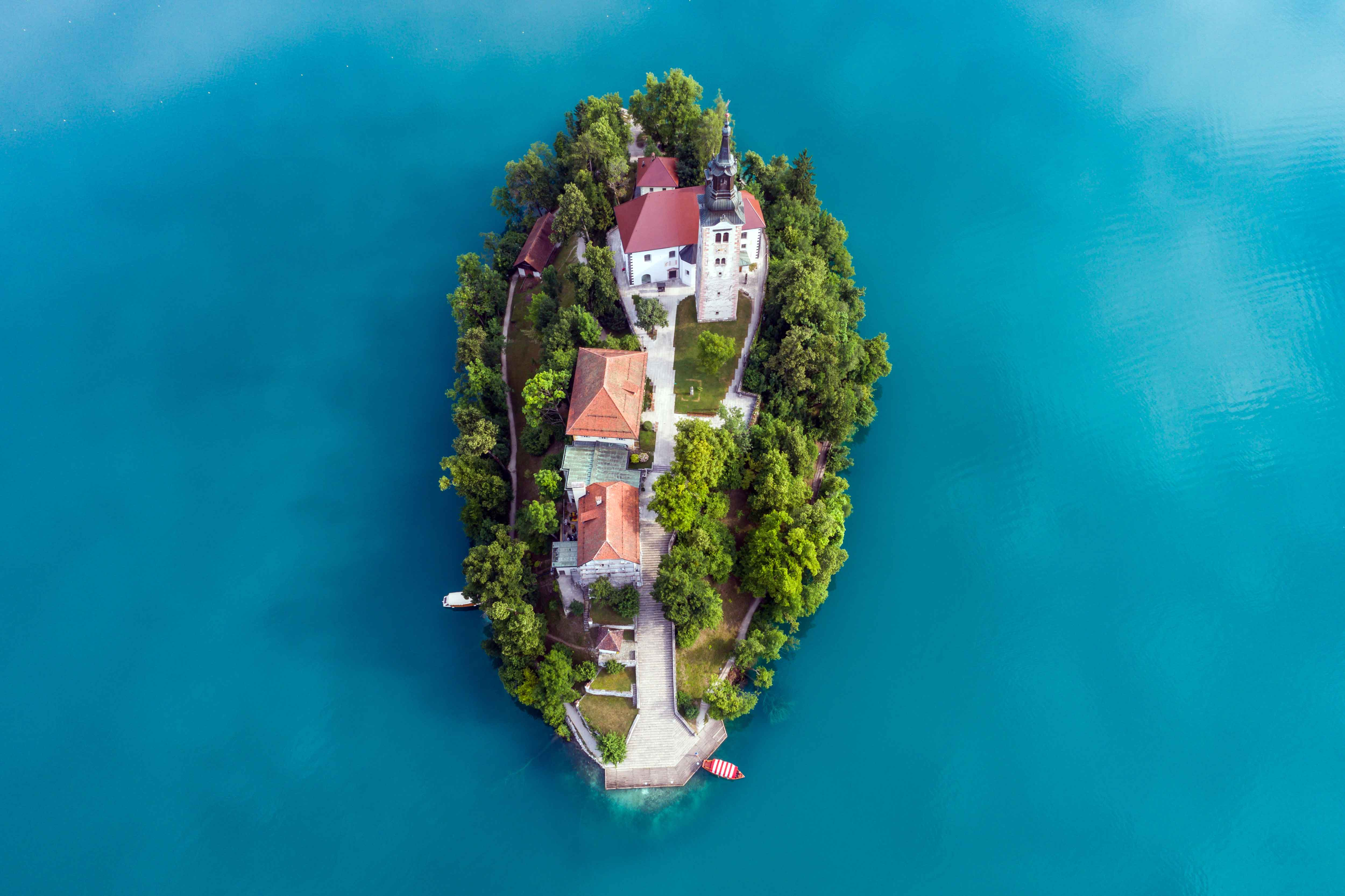Aerial view of the Pilgrimage Church of the Assumption of Mary on Bled Island, Lake Bled, Slovenia