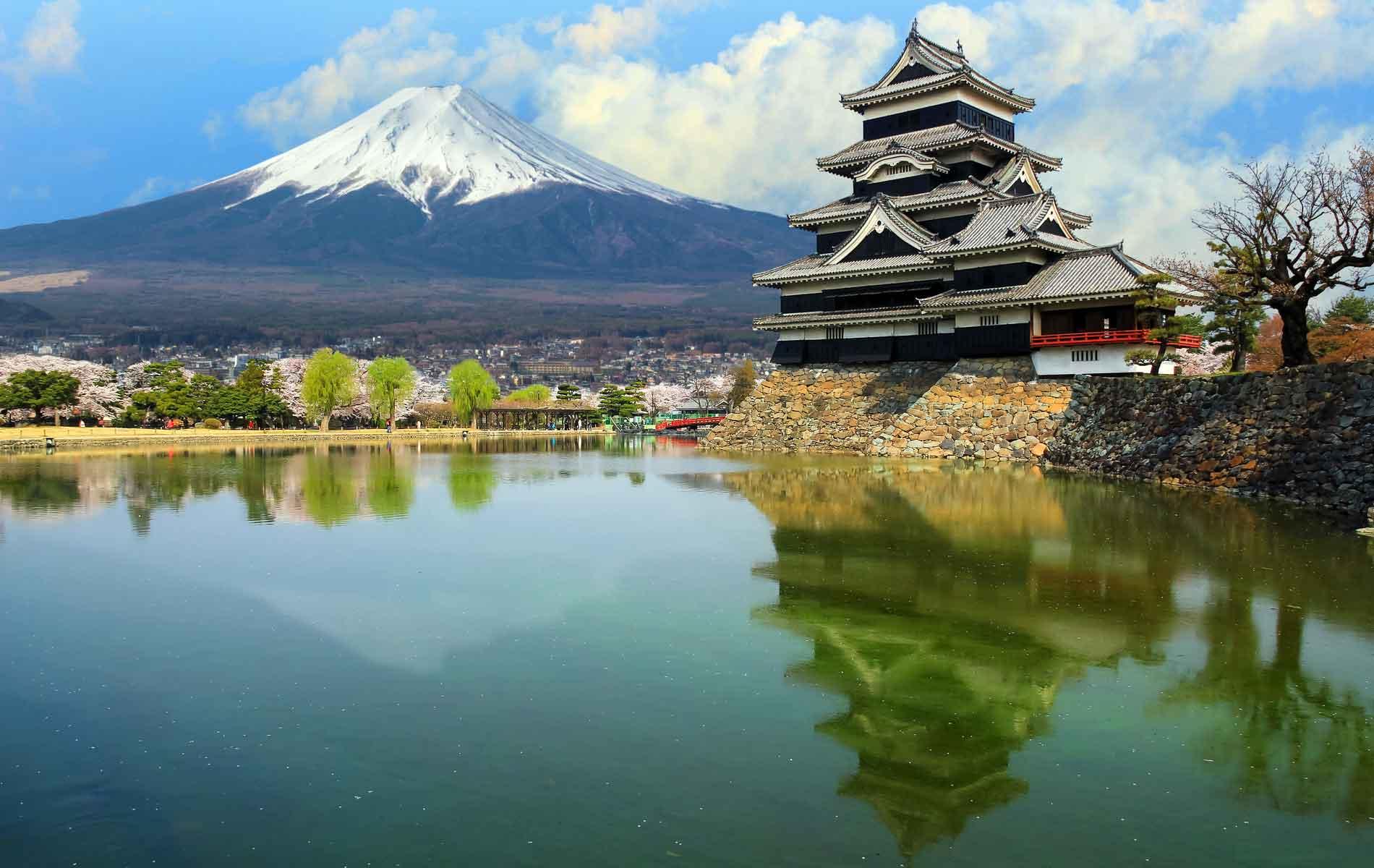 Matsumoto Castle with Mount Fuji as a backdrop