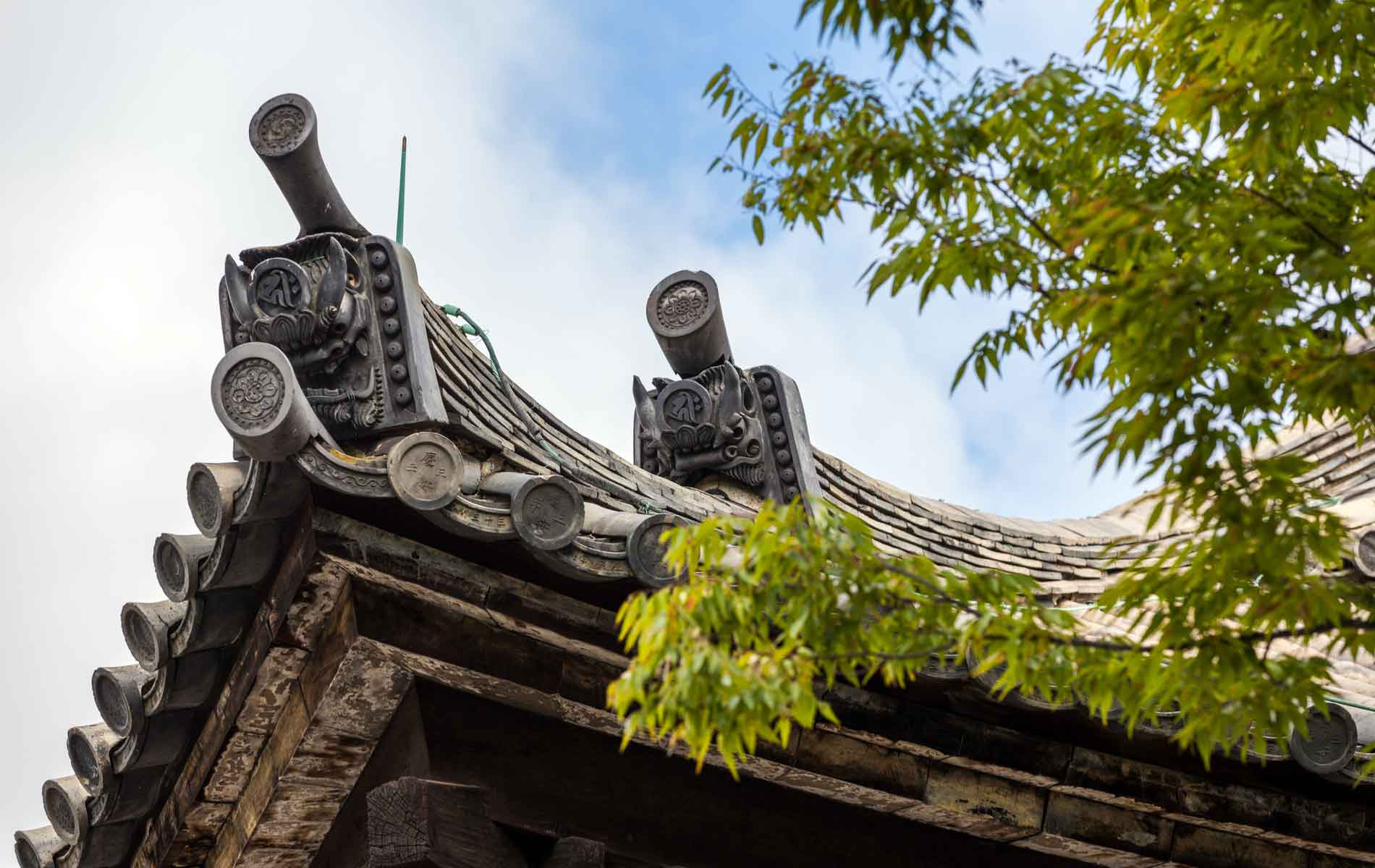 Detail of the Main Hall of Sanjusangendo Buddhist Temple in Kyoto, Japan