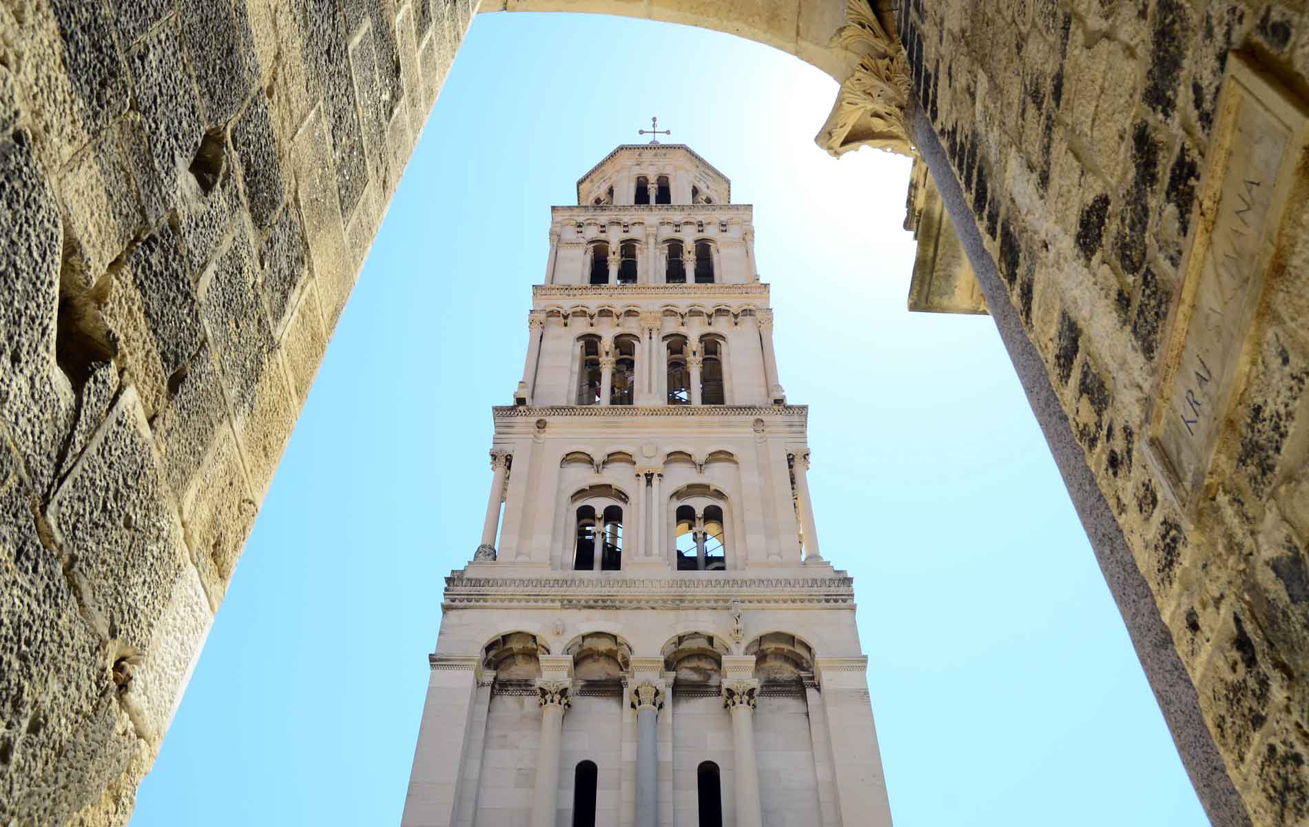 The bell tower in Diocletian's Palace in Split, Croatia