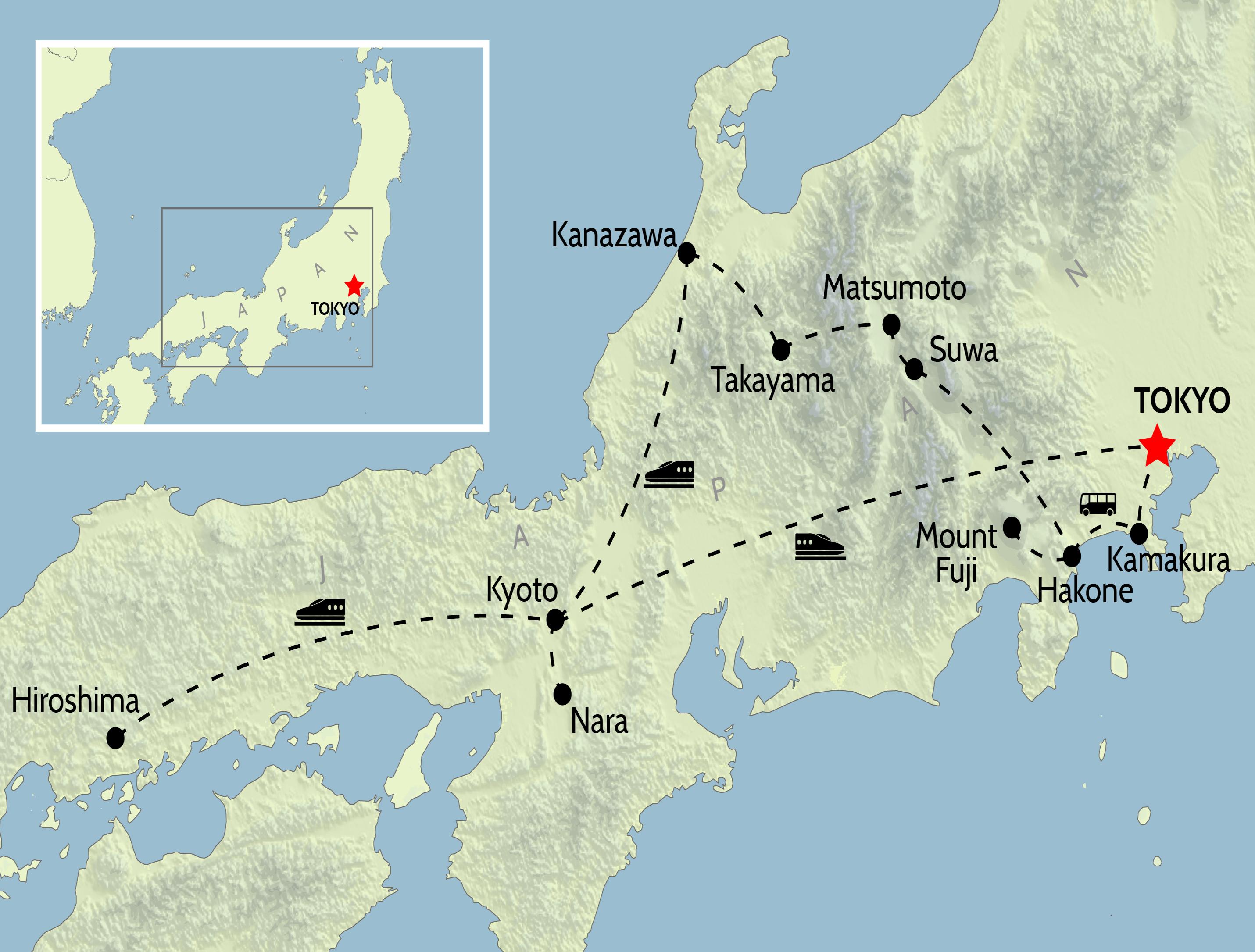 Wheel & Anchor Japan Tour Map
