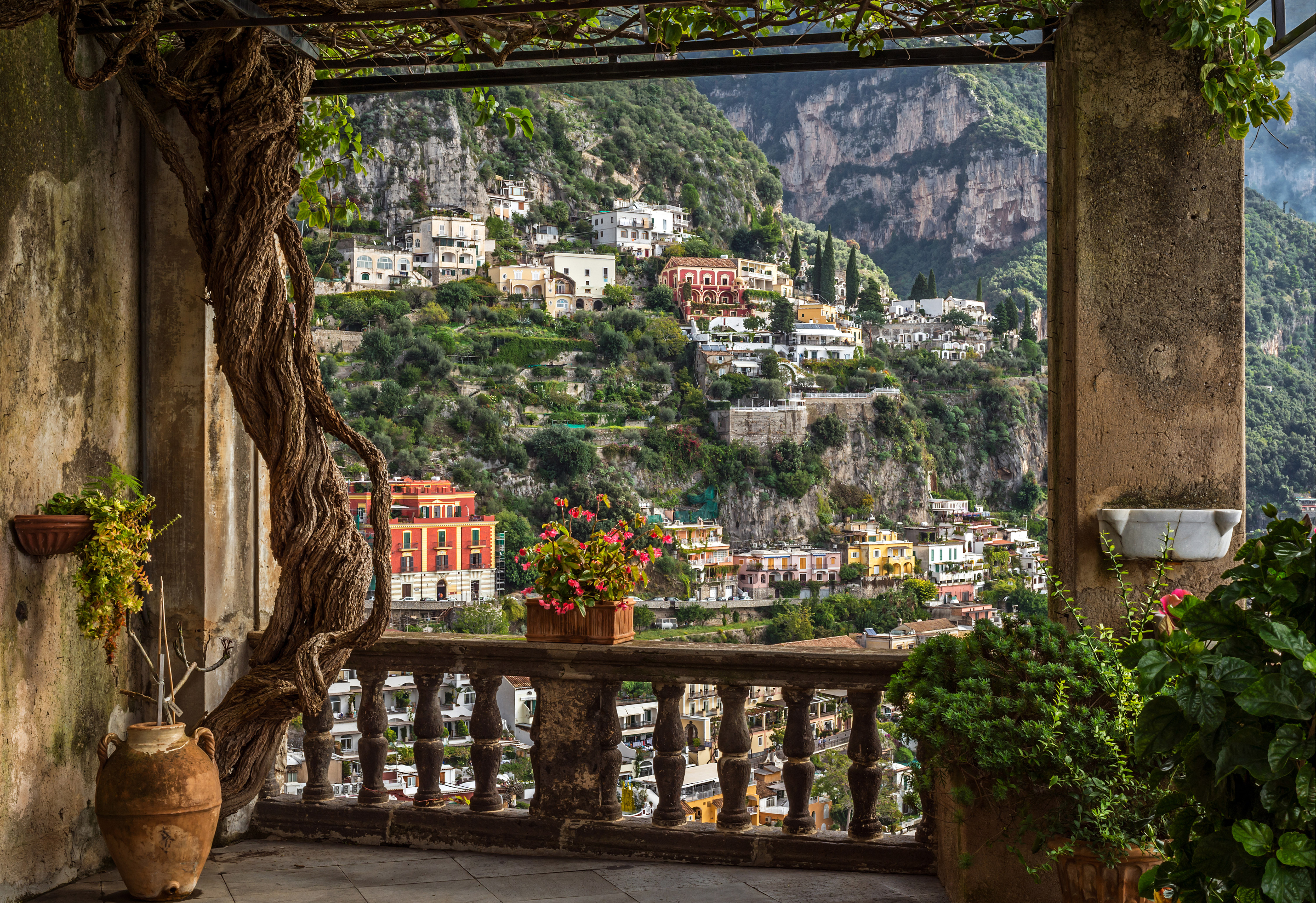 Positano with its church near Naples in South Italy