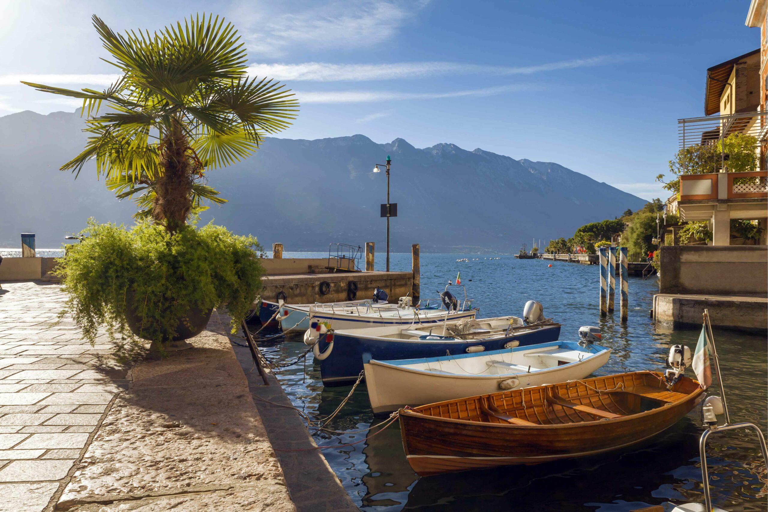 Boats docked along Lake Garda, Italy