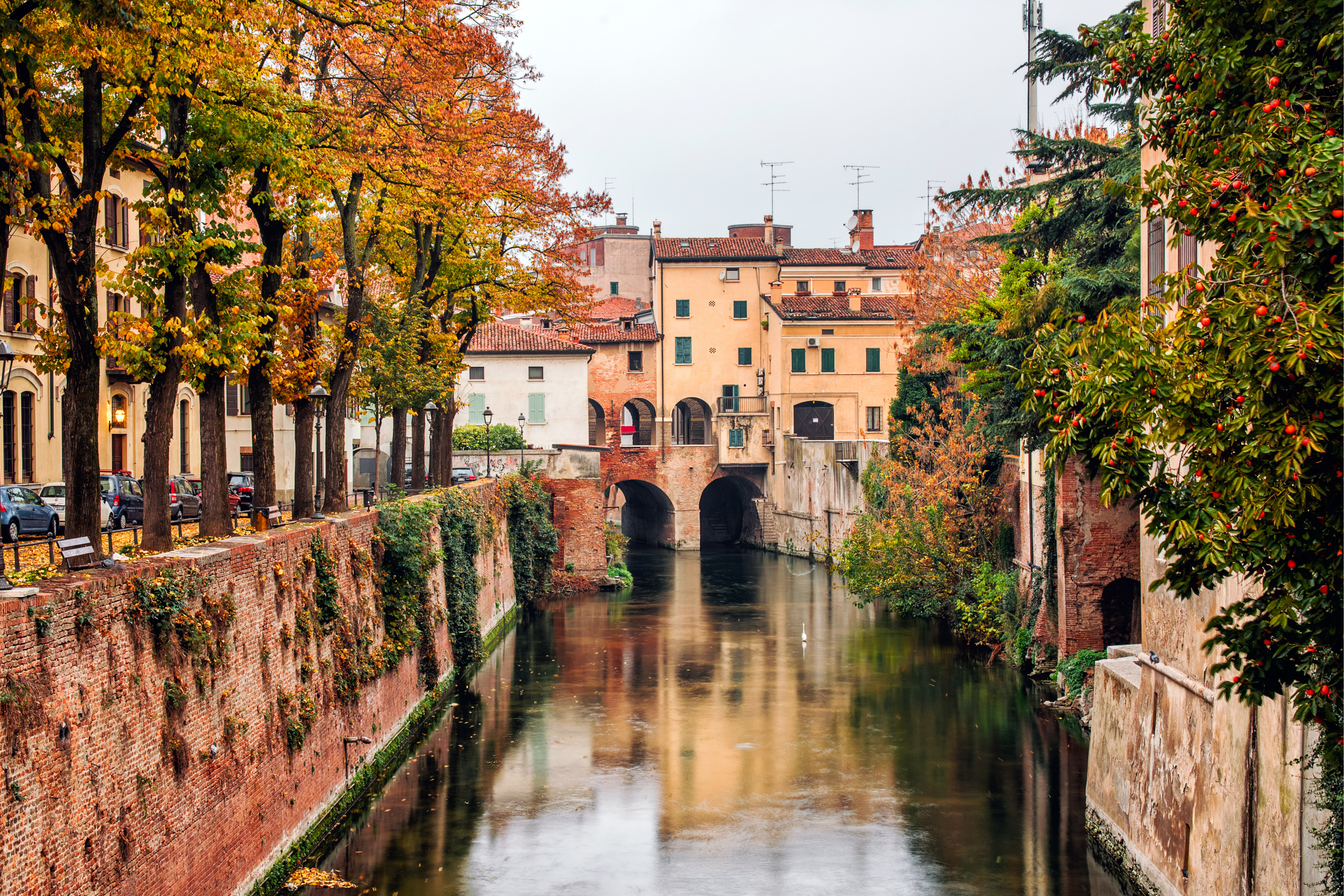 An Autumn atmosphere on the river Rio, Mantua, Italy