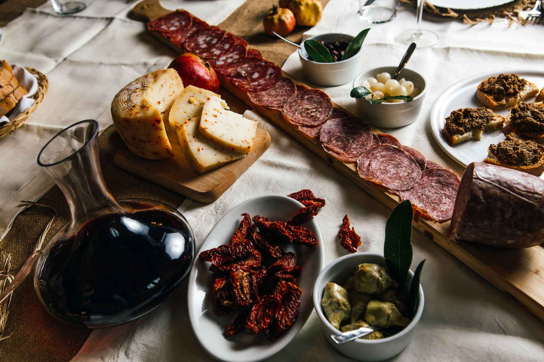 Classic Tuscan meat, cheese, and wine