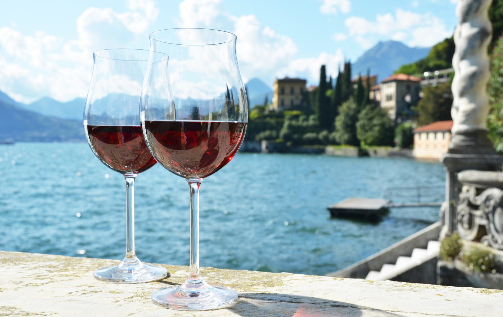 Two wineglasses at lake Como, Italy