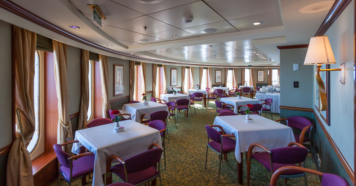 The Princess Grill Restaurant on the QM2 is the home of silver service and fine dining.