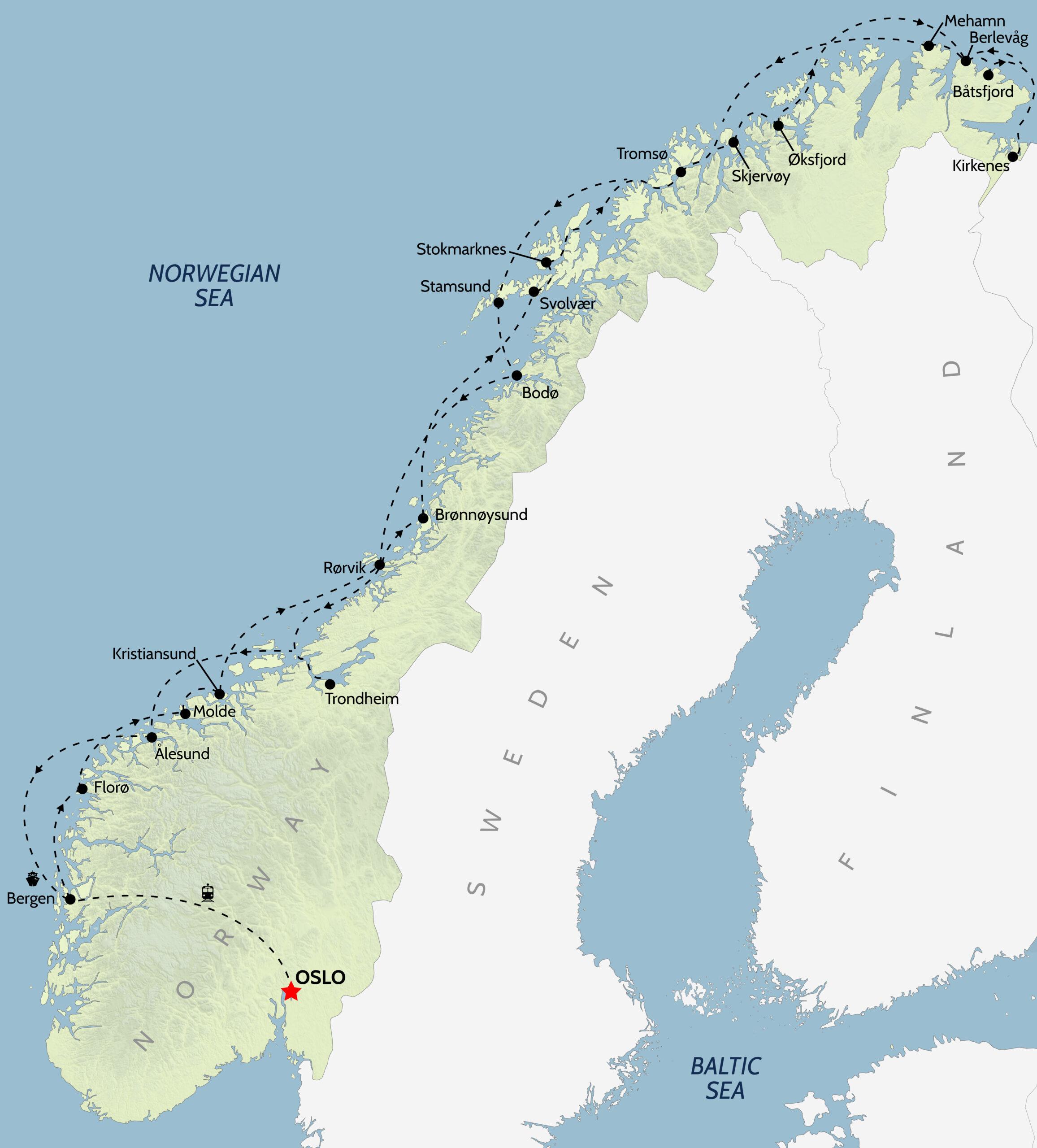 Norway Cruise Map
