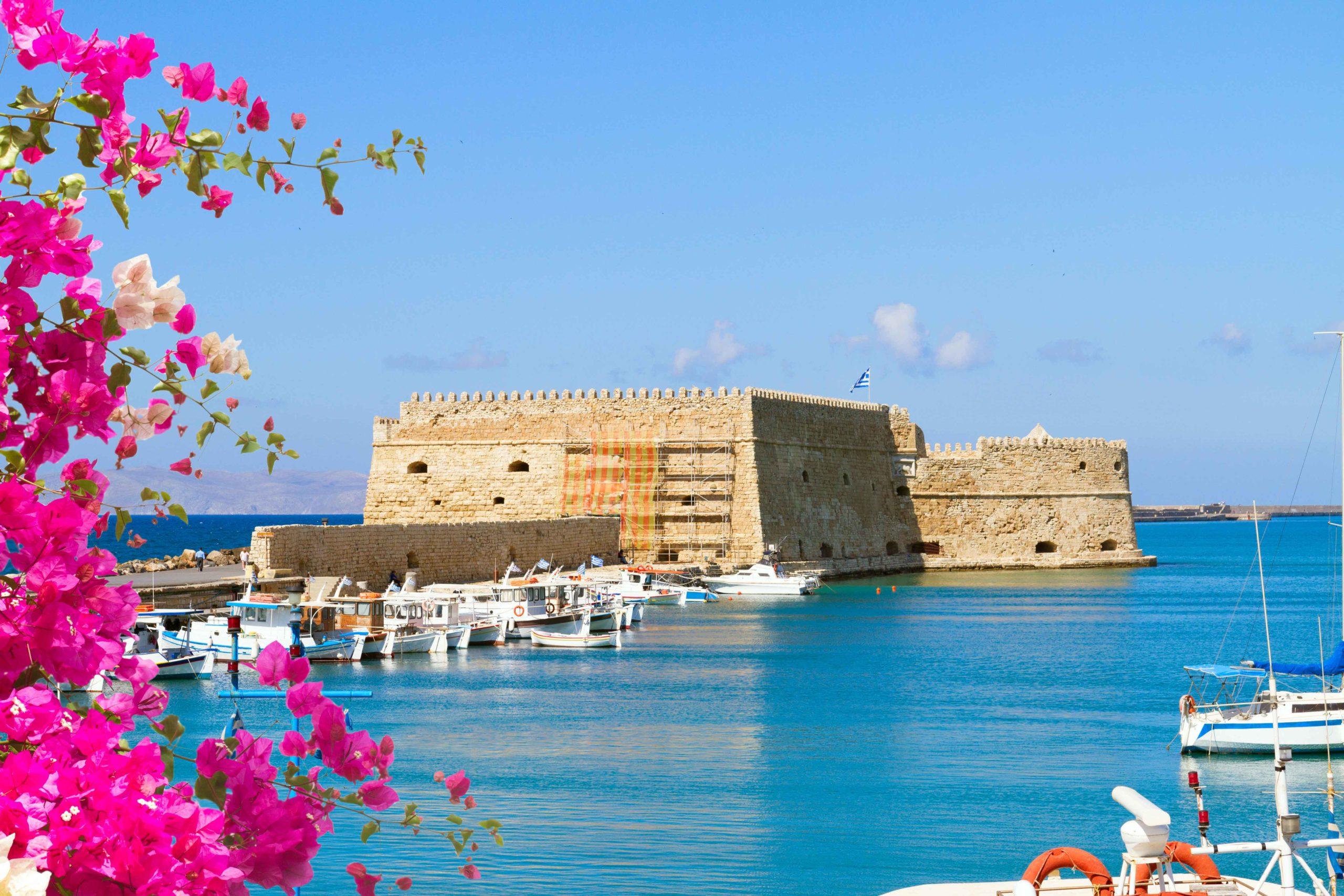 The harbour in Heraklion on the island of Crete