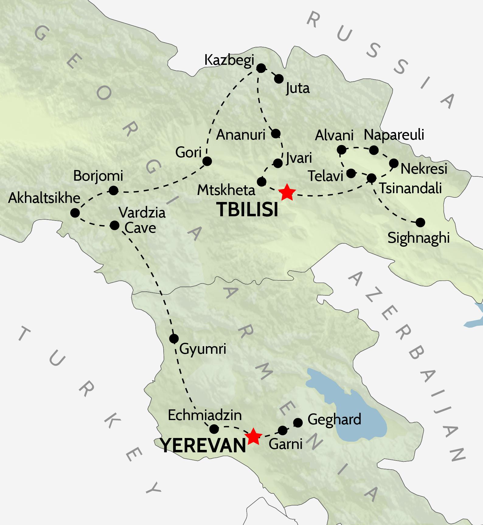 Wheel & Anchor Georgia & Armenia Tour Map