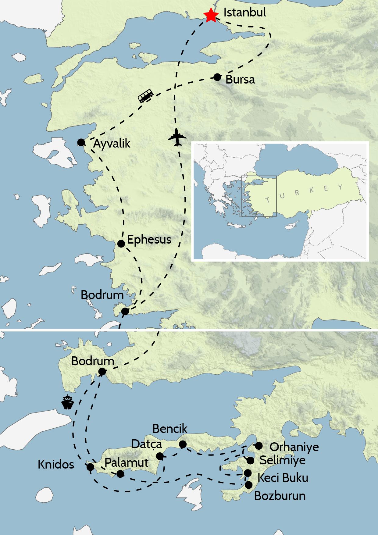 Map of Turkey tour