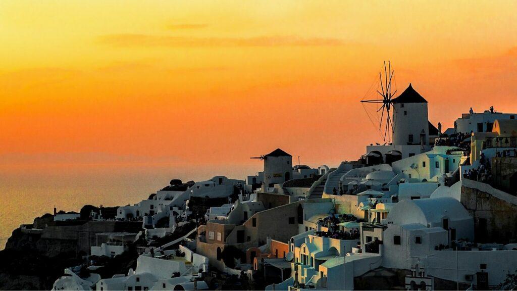 Sunset at Oia on Santorini