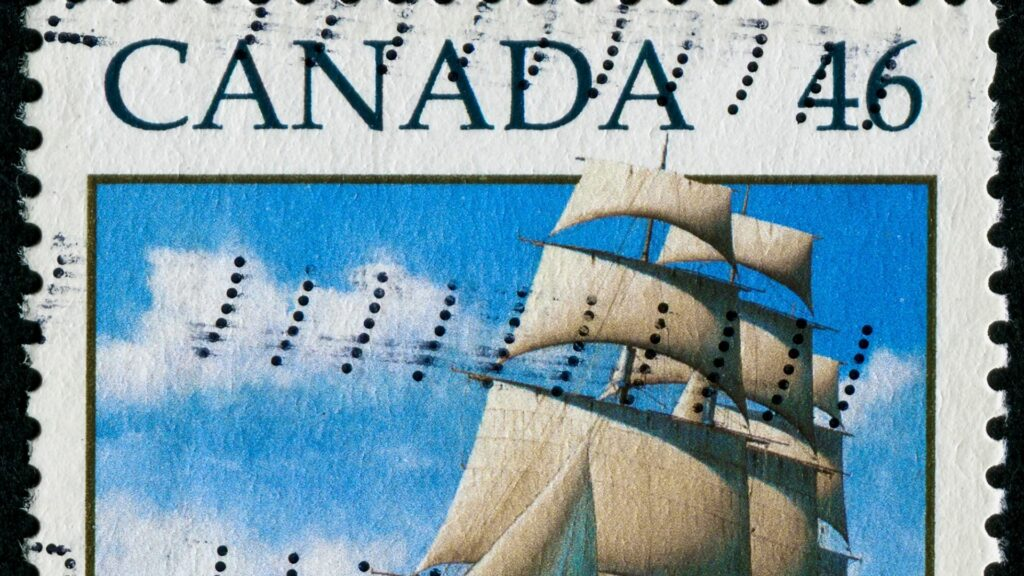 A cancelled stamp from Canada commemorating Marco Polo