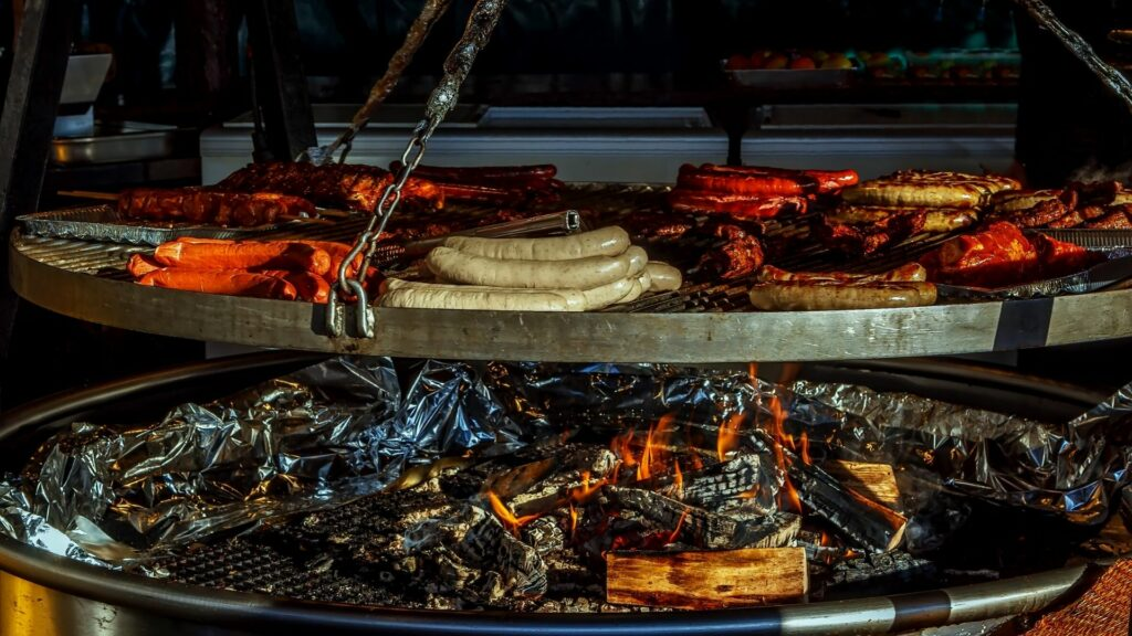 Sausages cooking at a street vendor in Frankfurt, Germany